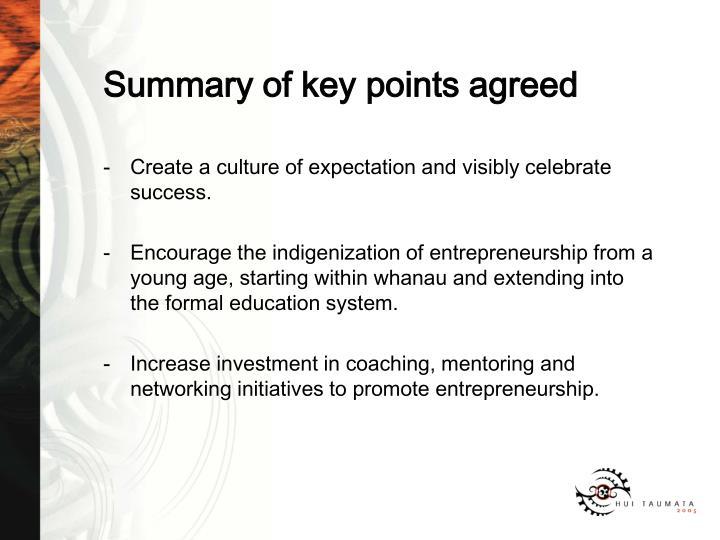 Summary of key points agreed