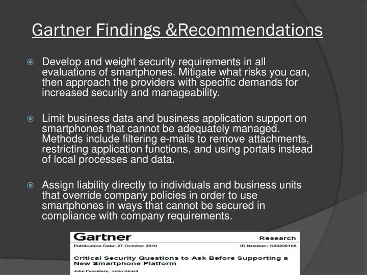 Gartner Findings &Recommendations
