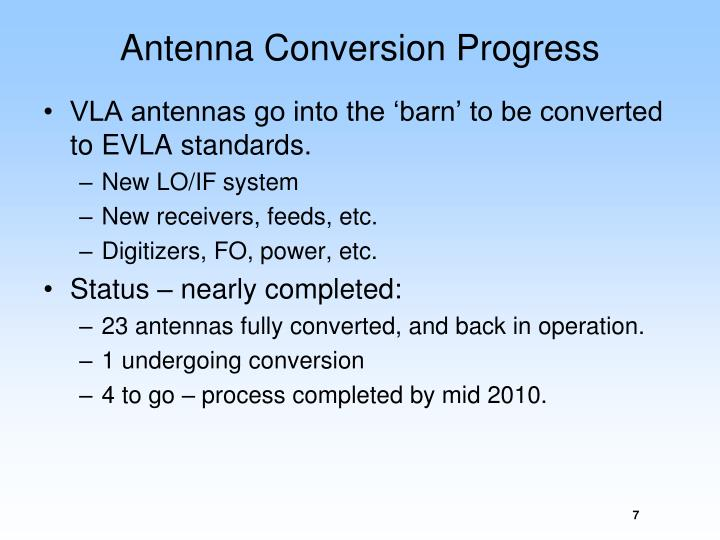 Antenna Conversion Progress
