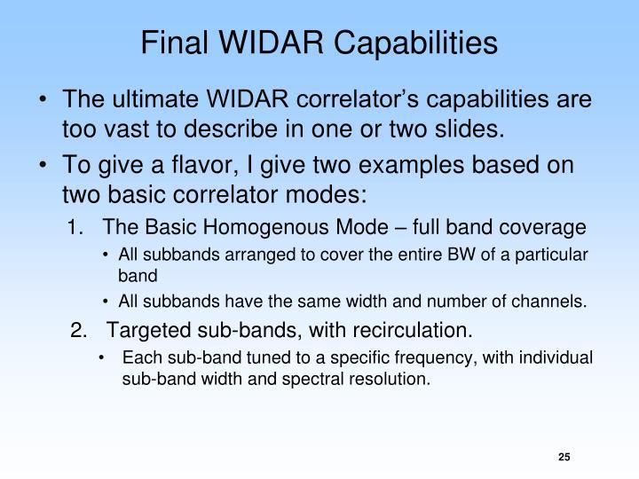 Final WIDAR Capabilities