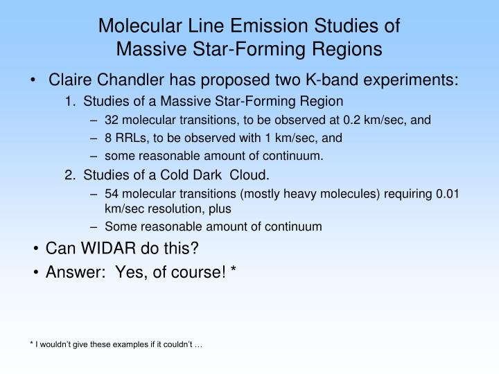 Molecular Line Emission Studies of