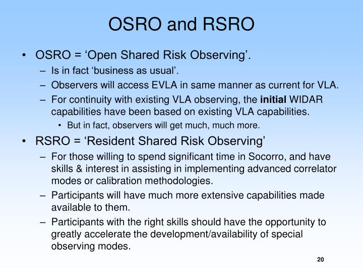 OSRO and RSRO