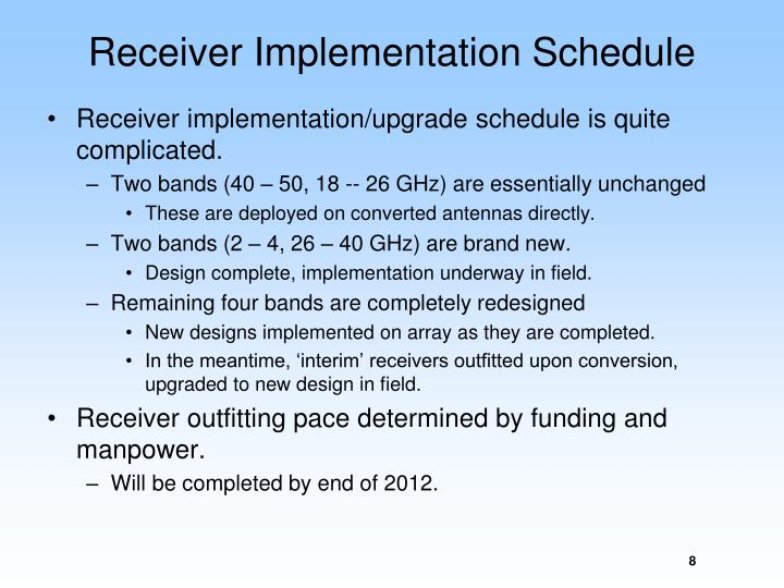 Receiver Implementation Schedule