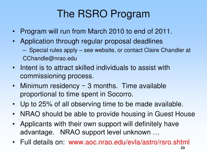 The RSRO Program