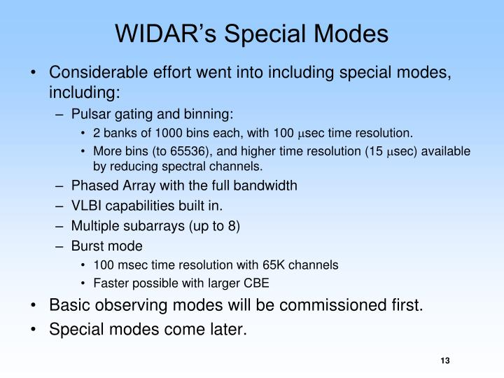 WIDAR's Special Modes