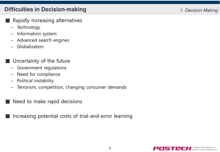 Difficulties in Decision-making
