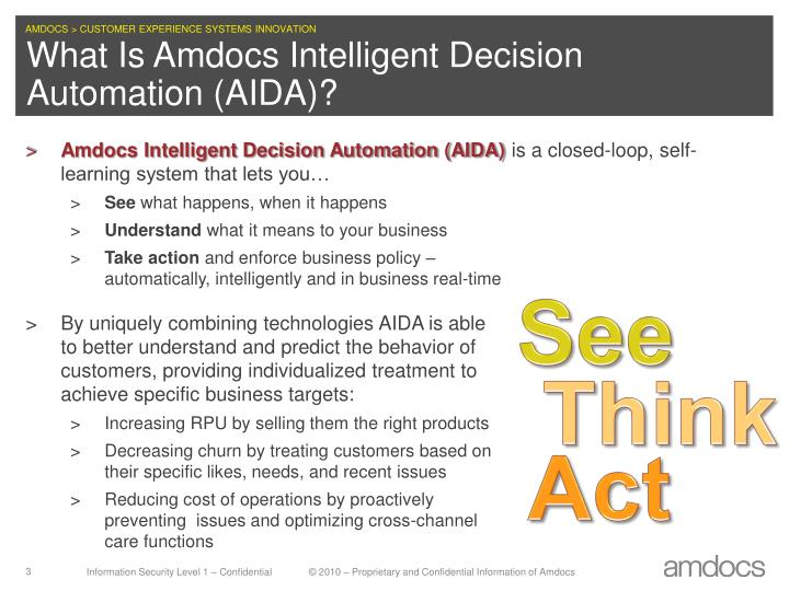 What is amdocs intelligent decision automation aida