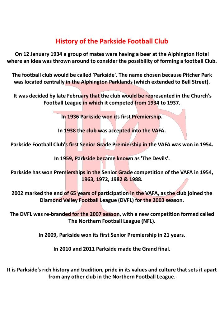 History of the Parkside Football Club