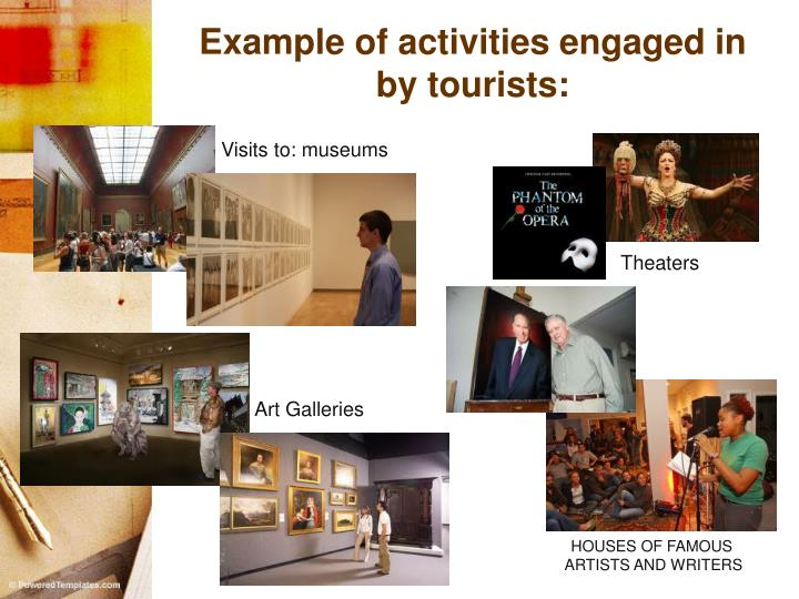 Example of activities engaged in by tourists: