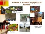 example of activities engaged in by tourists2