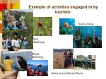 example of activities engaged in by tourists3