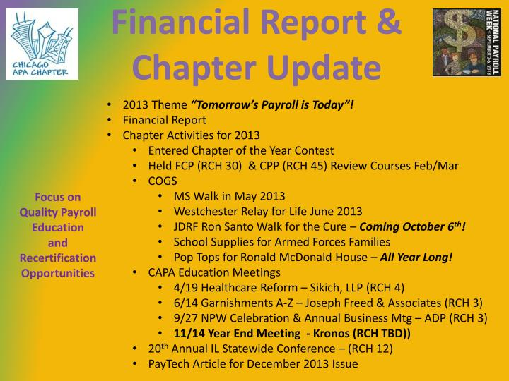 Financial Report & Chapter Update