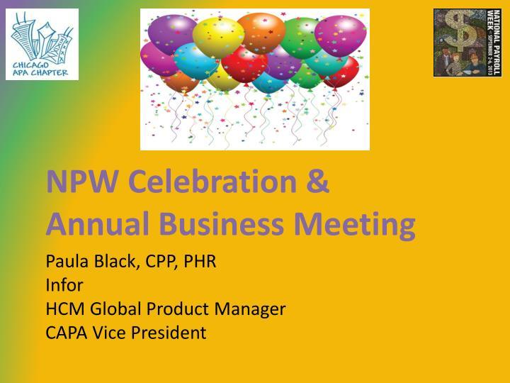 NPW Celebration &
