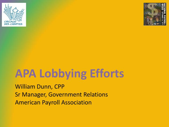 APA Lobbying Efforts
