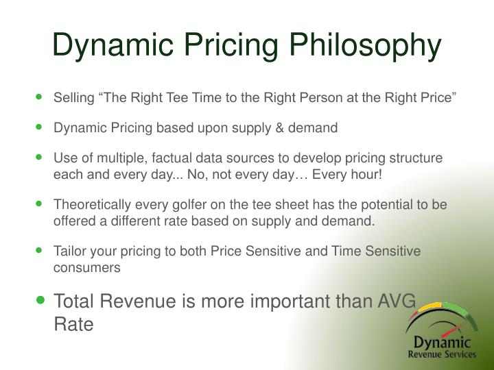 Dynamic Pricing Philosophy