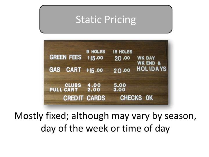 Static Pricing