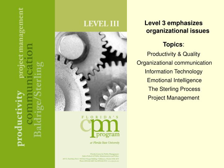 Level 3 emphasizes organizational issues