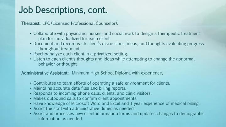 Job Descriptions, cont.