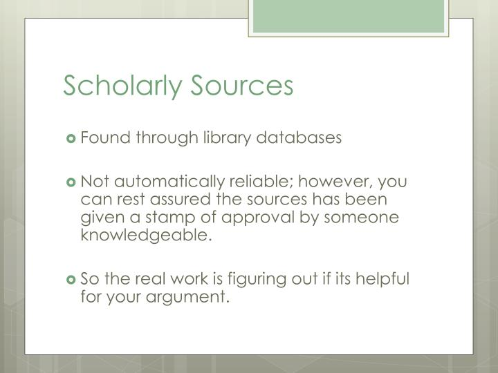 Scholarly Sources