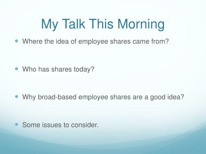 My Talk This Morning