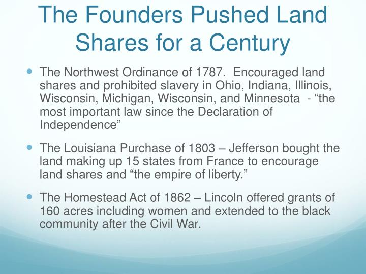 The Founders Pushed Land Shares for a Century