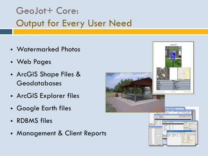 GeoJot+ Core:
