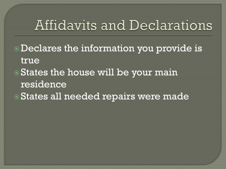Affidavits and Declarations