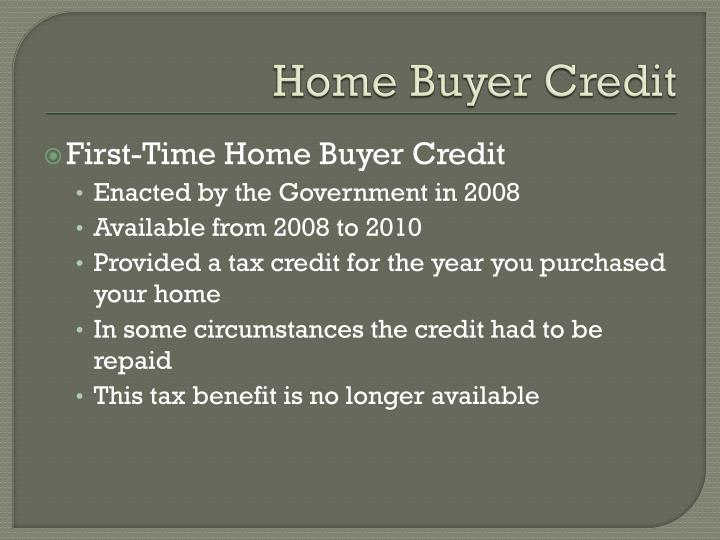 Home Buyer Credit