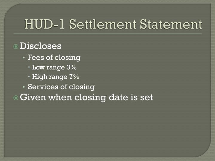 HUD-1 Settlement Statement