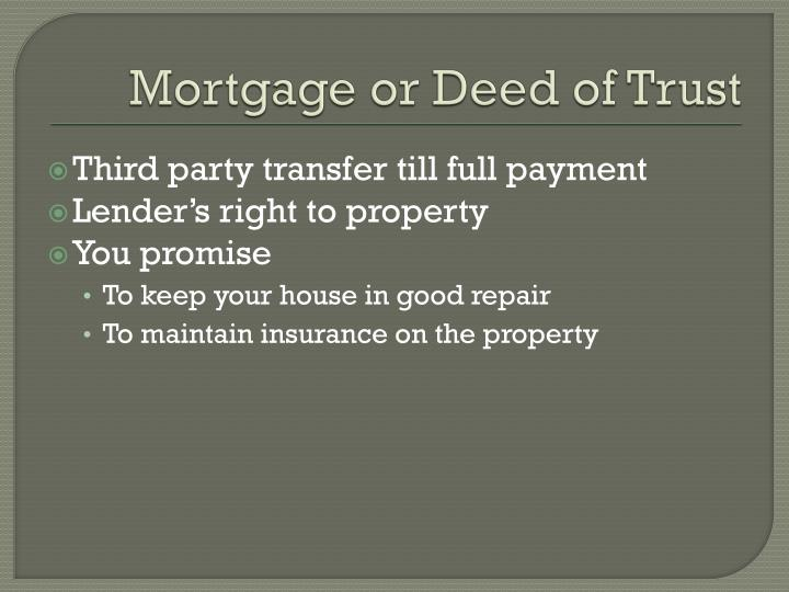 Mortgage or Deed of Trust