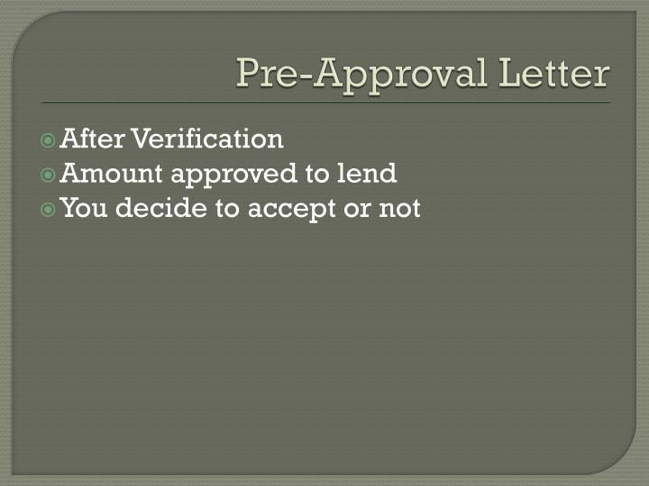 Pre-Approval Letter