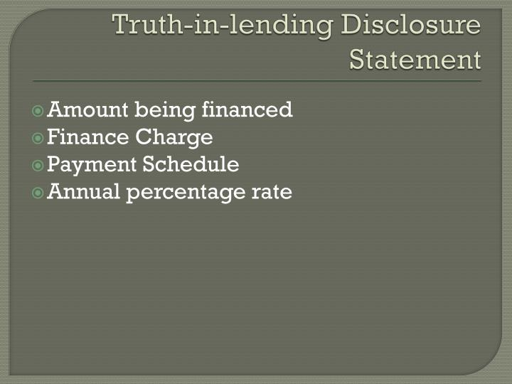 Truth-in-lending Disclosure Statement