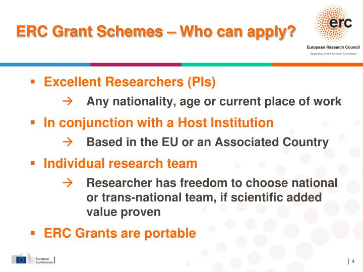 ERC Grant Schemes – Who can apply?