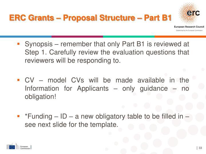 ERC Grants – Proposal Structure – Part B1