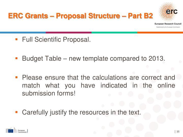 ERC Grants – Proposal Structure – Part B2