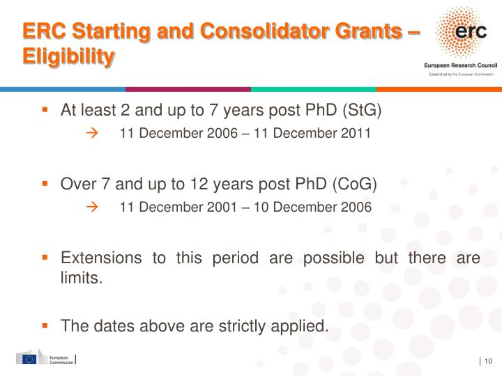 ERC Starting and Consolidator Grants – Eligibility