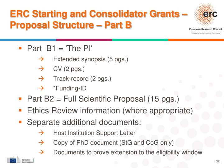 ERC Starting and Consolidator Grants – Proposal Structure – Part B