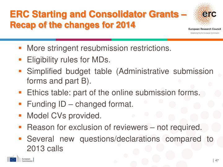 ERC Starting and Consolidator Grants –