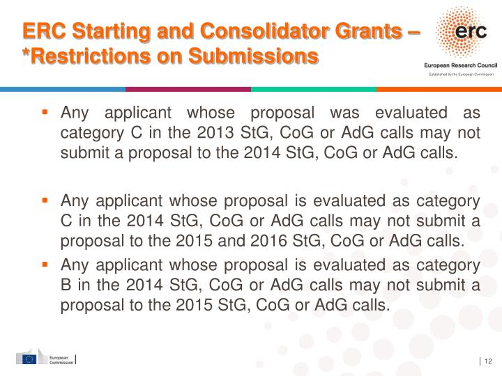 ERC Starting and Consolidator Grants – *Restrictions on Submissions