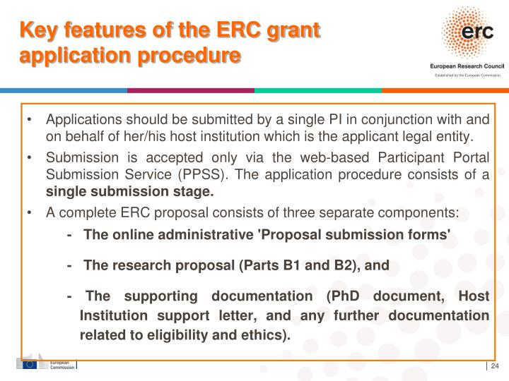 Key features of the ERC grant application procedure