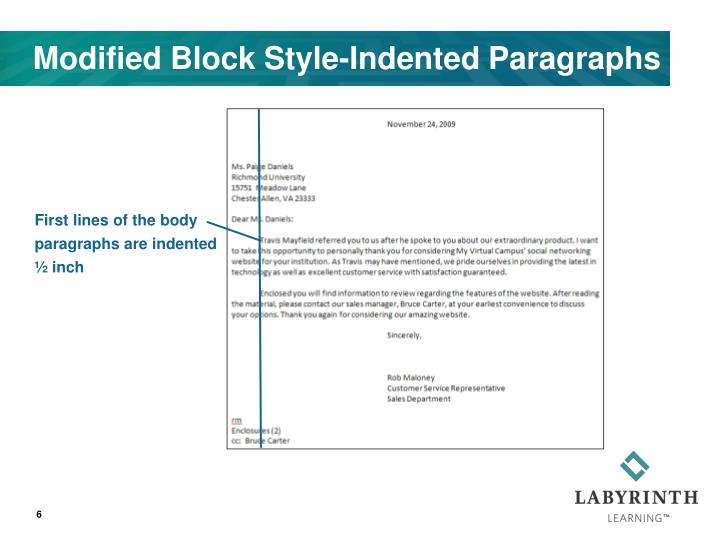 Modified Block Style-Indented Paragraphs