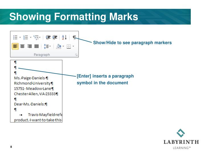 Showing Formatting Marks