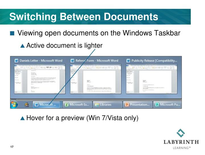 Switching Between Documents
