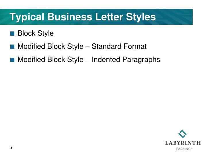 Typical business letter styles