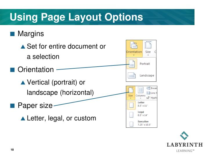 Using Page Layout Options