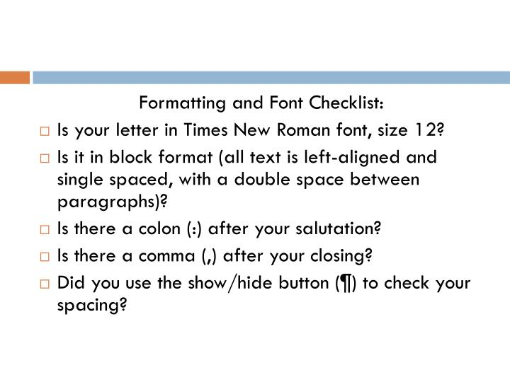 Formatting and Font Checklist: