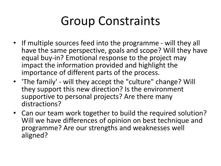 Group Constraints