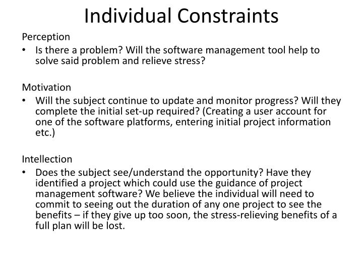 Individual Constraints