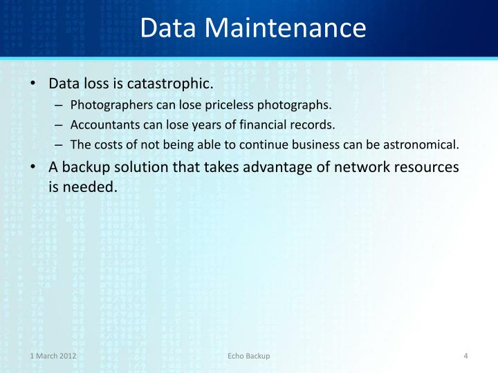Data Maintenance