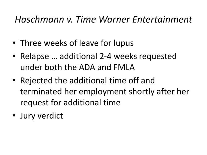 Haschmann v. Time Warner Entertainment